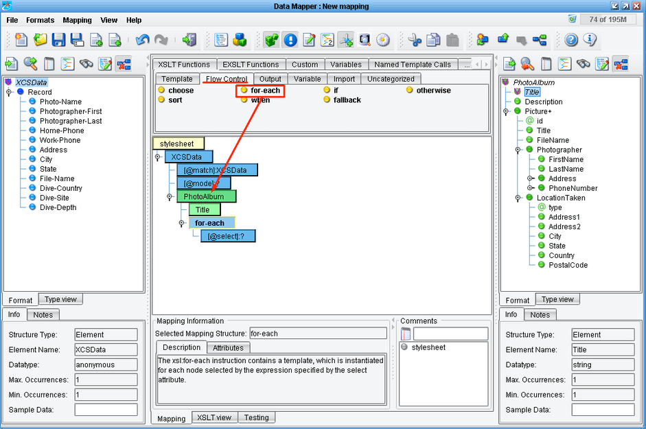 Data Mapping in the eiConsole Interface Engine Software